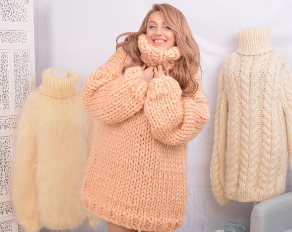 Ready to ship sweater in size 6XL, Merino Wool Turtleneck Sweater  , Soft bulky sweater, Women Wool Sweater, chunky sweater  T755