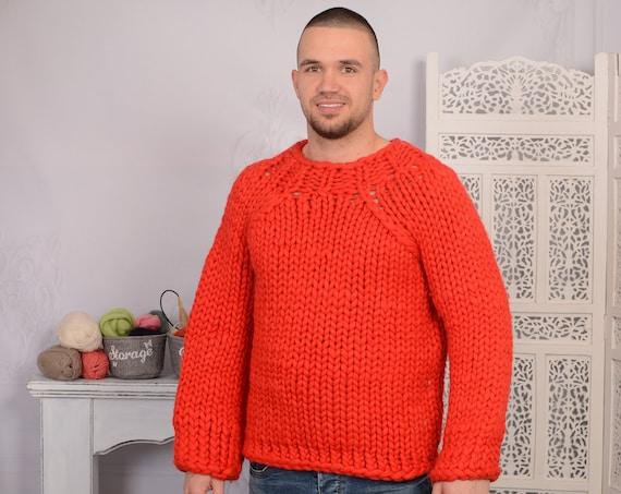 Red merino wool sweater, Soft winter jumper,  T719M