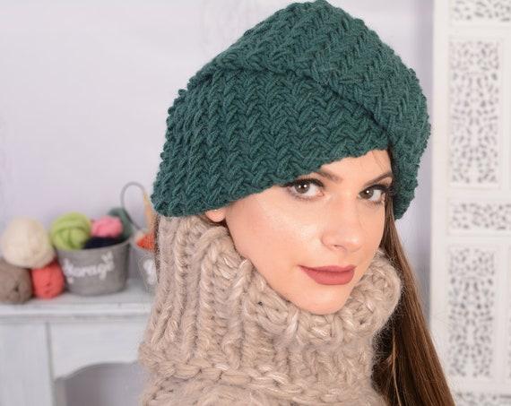 Full head covering, turban hat for women, stretchy wool turban, handmade hat, knotted turban, women's hat, stylish turban hat T737