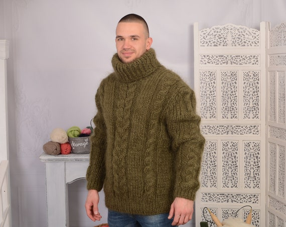 Olive GREEN Mohair Sweater, Chunky Turtleneck, Cable Knit Ribbed Pullover, Unisex top, Hand Knit men sweater, hand knit man sweater T697M