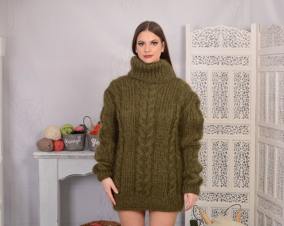 Olive GREEN Mohair Sweater, Chunky Turtleneck, Cable Knit Ribbed Pullover, Unisex top, Hand Knit men sweater, knit women sweater T697W