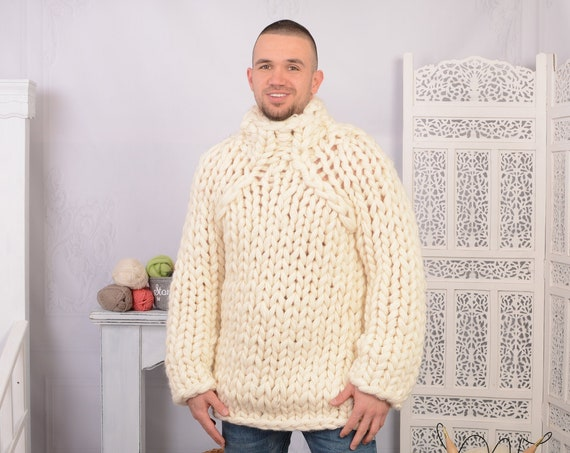 14 strands Chunky Knit Wool Sweater, Cream woolen Hand knit Pullover T707M