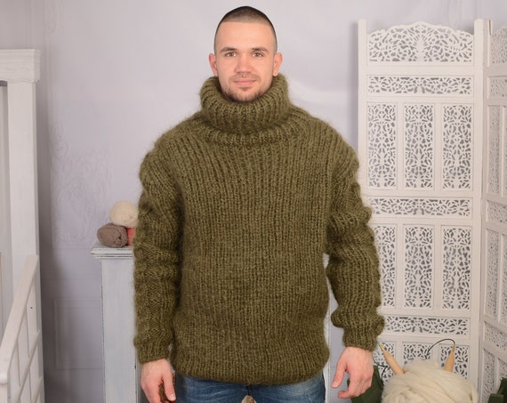 Olive GREEN Mohair Sweater, Chunky Turtleneck, Hand Knit wosweater, knitted mohair pull T697AM