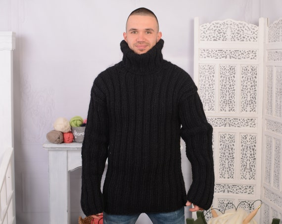 Black Ribbed Wool Sweater, Hand Knit Pullover, Chunky Sweater, Turtleneck Sweater, Men Sweater, Oversized sweater, T711M