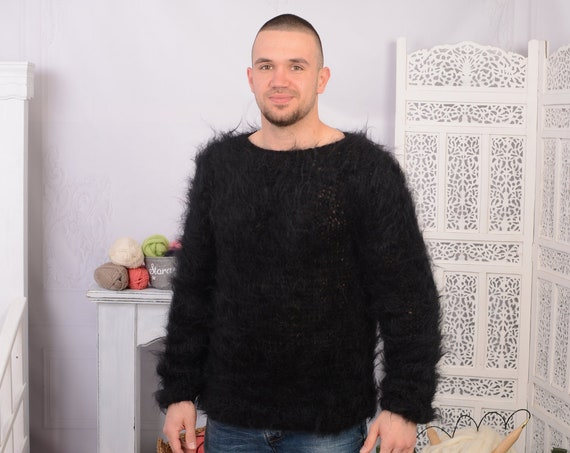 Black  Big neelde Knit Mohair Sweater, Fluffy sweater, See through sweater T700M