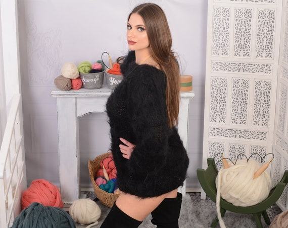 Black  Big neelde Knit Mohair Sweater, Fluffy sweater, See through sweater T700W