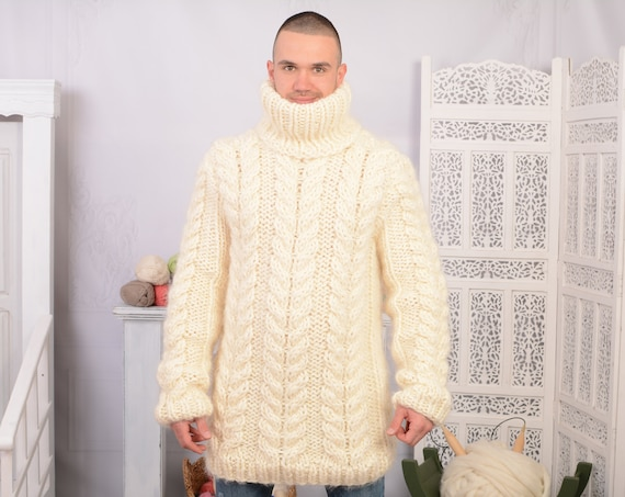 Chunky  Mohair & Soft Wool blend Sweater, Hand Knit Chunky Turtleneck Pullover T730M