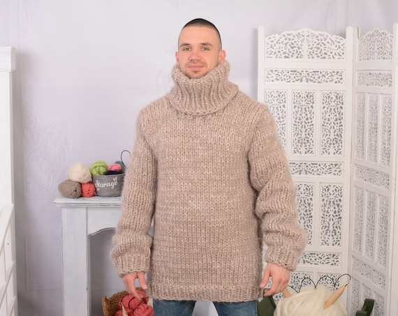 Chunky Mohair and wool mix Sweater, Thick knit Sweater in beige , Turtleneck Jumper T704M