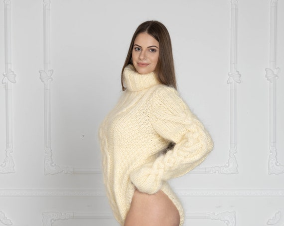 Mohair Bodysuit with cables in cream colour, Hand Knit Cable Knit Catsuit  T642