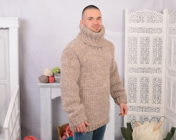 Ready to ship in size 4 XL Chunky Mohair and wool mix Sweater, Thick knit Sweater in beige , Turtleneck Jumper T704M