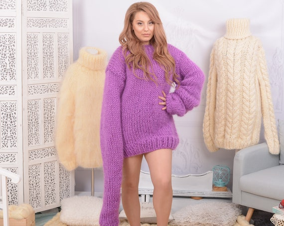 4 strands mohair sweater knitted on big needles, Chunky and cosy fluffy sweater T747