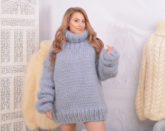 12 strands Crewneck Mohair Sweater, Chunky Knit Unisex Pullover T745