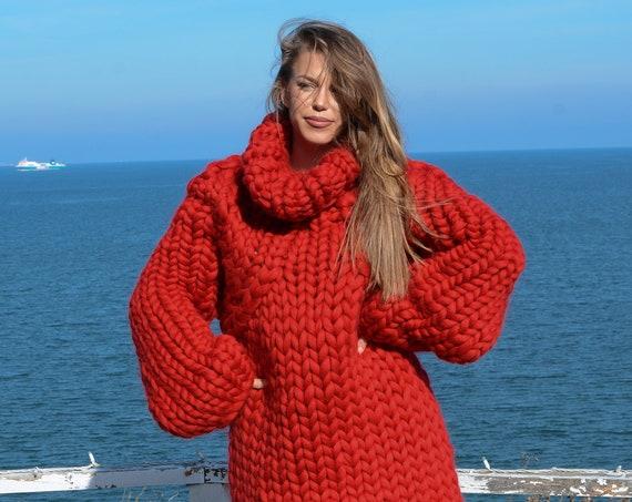 CHUNKY KNIT SWEATER, bulky sweater, Giant knit sweater, Chunky Knit Sweaters, super chunky sweater, Merino chunky sweater T668W