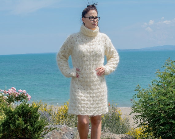 Ready to ship in size 2XL, Cream Mohair lace sweater dress, Fluffy Knitting dress, Fuzzy pullover dress, Knee High Sweater dress T798