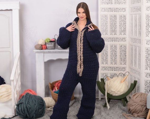 Merino Wool Catsuit, Hand Knit Woolen Overall, Hooded catsuit, Wool Jumpsuit, Chunky Huge Catsuit, Fetish Catsuit, Woolen romper T733W
