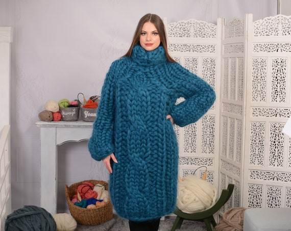 25 strands thick mohair sweater, Cable knit chunky sweater, cosy winter garment, Hand knit sweater, Bulky mohair sweater, Blue jumper T699W
