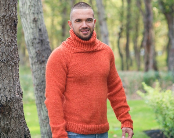 Extremely soft Extra Fine  Italian Merino wool, Turtleneck Men Sweater, Scandinavian Style, Minimalist Clothing, Basic Baggy Knitwear T853