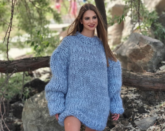 8 strands Mohair and wool mix sweater, Extra thick melange jumper. Oversized Wool Sweater, Thick Hand Knitted Jumper T788