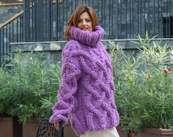5 Strands Thick Purple Wool Sweater, Massive Knit Woolen Pullover, Cables Sweater, Woolen huge Sweater T816