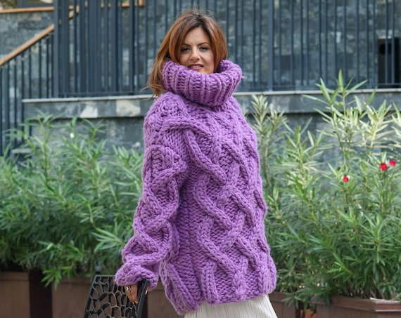 Redy to SHip 5 Strands Thick Purple Wool Sweater in size 3XL, Massive Knit Woolen Pullover, Cables Sweater, Woolen huge Sweater T816