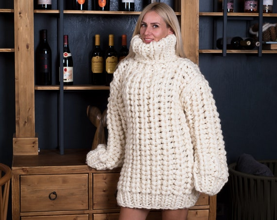 8 strands Chunky 100 % wool sweater, Extra thick Fisherman rib jumper. Oversized Wool Sweater, Thick Hand Knitted Jumper T808