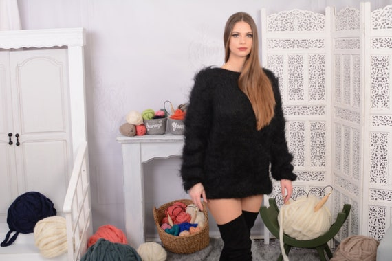 Ready to ship in size L , Black  Big neelde Knit Mohair Sweater, Fluffy sweater, See through sweater T700W