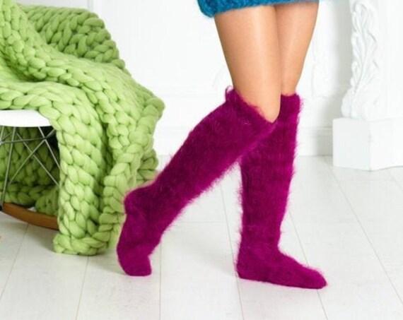 Pink Mohair Socks, Hand Knit Legwarmers, Fuzzy Socks, Fluffy Socks, Winter Socks, Warm Socks, Fetish Socks, Hand Knitted Socks  T615