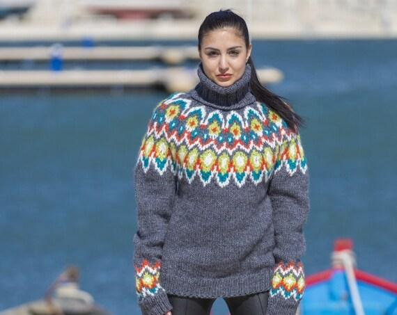 Lopi Wool Sweater, Icelandic Sweater, Hand Knitted Sweater, Raw Wool Sweater, Norwegian Sweater, Oversized Sweater, Cosy Nordic Sweater T551