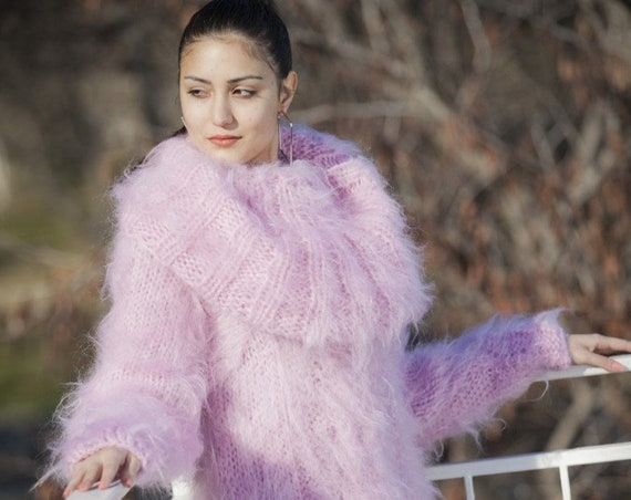 Pink Mohair Dress, Cowl Neck Sweater, Hand Knit Dress, Fluffy Pullover, Maxi Mohair dress, Winter Dress, Oversized Dress, Fetish Dress T13
