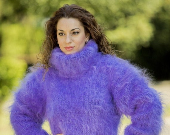 Purple Mohair Sweater, Turtleneck Sweater, Hand Knitted Sweater, T neck Jumper, Oversized Sweater, Mohair Fetish, Chunky Fluffy Sweater T73
