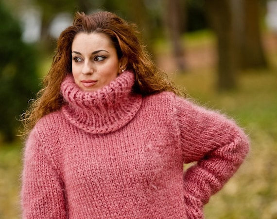 Pink Mohair Sweater, Turtleneck Sweater, Hand Knitted Sweater, T neck Jumper, Oversized Sweater Mohair Fetish, Chunky Fluffy Sweater T206