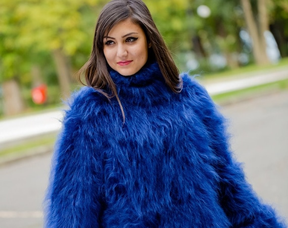 Blue Mohair Sweater, Hand knit Fluffy Sweater T168