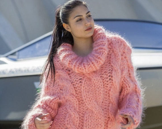 10 strands chunky cable knit mohair sweater in pink T569