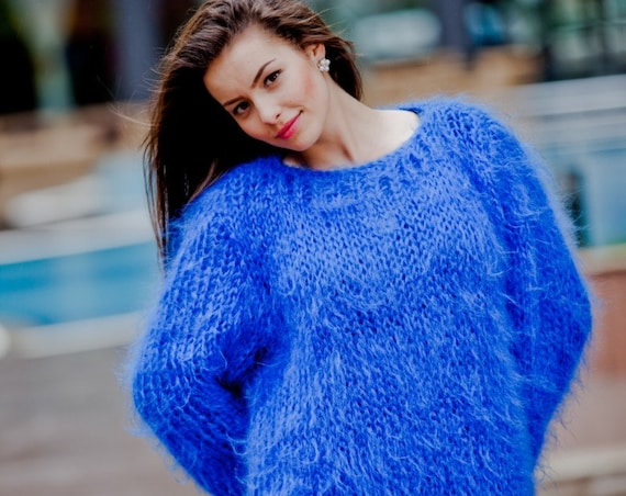 Off shoulder sweater, Blue Mohair Sweater, Loose Knit Sweater, Summer sweater, boat neck top, See through sweaterT55