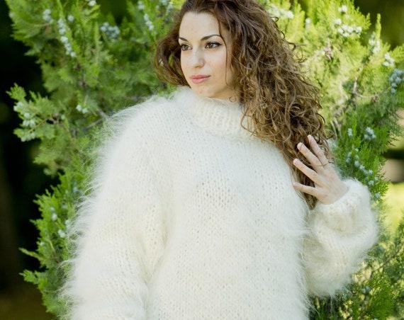 Mohair & Merino wool Sweater, Cream Crewneck Sweater, Mohair Sweater, Mohair Hand Knit Pull, Thick Oversized Sweater,Soft Wool Jumper T80