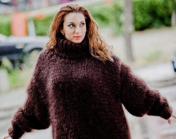 Mohair & Cashmere Sweater, Turtleneck Sweater, Fetish Mohair Sweater, Thick Sweater, Oversized Sweater, Huge Sweater, Soft Fuzzy Sweater T59
