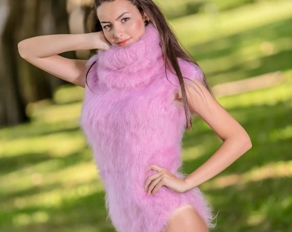 Mohair Bodysuit, Hand Knit Sweater, Fetish Bodysuit, Men Mohair Romper, Turtleneck Overall, Sleevless Fetish Bodysuit, Fluffy Bodysuit  T341
