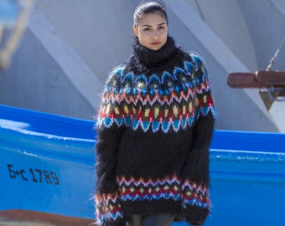 Mohair Sweater, Lopi Sweater, Icelandic Sweater, Hand Knit Sweater, Men Mohair Sweater, Norwegian Sweater, Nordic Sweater, Wool Sweater T555