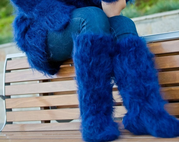 Mohair Socks, Hand Knit Legwarmers, Fuzzy Socks, Fluffy Socks, Winter Socks, Warm Socks, Fetish Socks, Wool Socks, HAnd KNitted Socks T179b