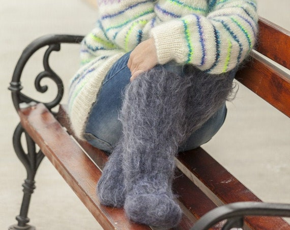 Mohair Socks, Hand Knit Legwarmers, Fuzzy Socks, Fluffy Socks, Winter Socks, Warm Socks, Fetish Socks, Wool Socks, HAnd KNitted Socks T505