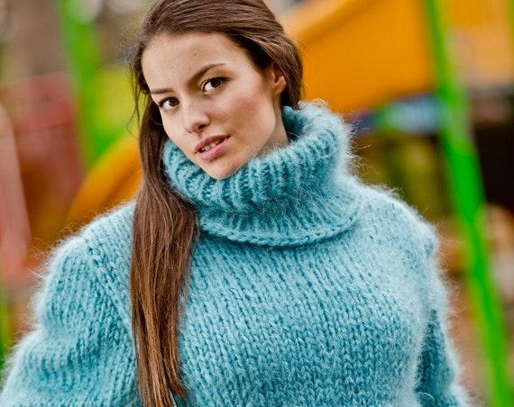 Chunky mohair sweater,hand knit women pullover,bubble long sleeve openwork pullover, oversized knit sweater,blue jumper,knitwear T205