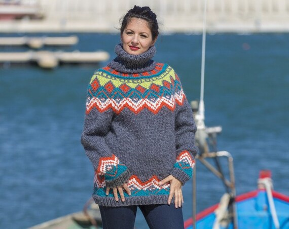 Lopi Wool Sweater, Icelandic Sweater, Hand Knitted Sweater, Raw Wool Sweater, Norwegian Sweater, Oversized Sweater, Cosy Nordic Sweater T552