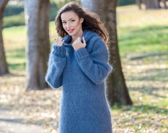 Gray Mohair Dress, Knit Sweater Dress, Turtleneck Maxi Dress, Chunky Mohair Dress, Long Fetish Dress, Hooded Dress , Hand Knitted Dress T390