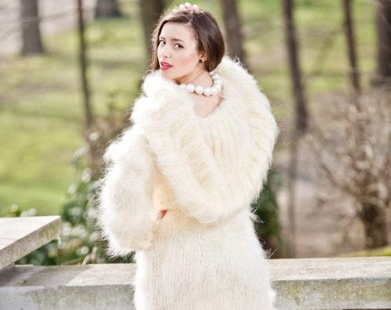 Cowl Neck Mohair Dress, Cream Maxi Dress, Knit Sweater Dress, Fluffy Mohair Dress, Oversized Mohair Dress, Fetish Dress , Maxi Dress T288