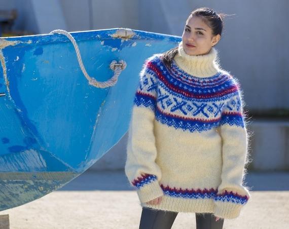 Icelandic Mohair Sweater, Norwegian Knitted Sweater T558