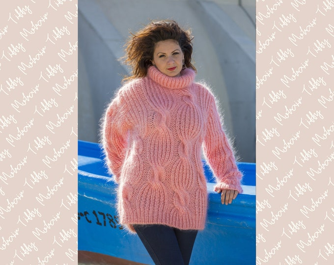 Featured listing image: Pink Mohair Sweater, Cables Sweater, Knit Sweater, Crewneck Jumper, Oversized Sweater, Mohair Fetish, Chunky Sweater, Men sweater T568