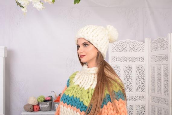 Chunky wool beanie women Thick knit white hat Merino wool hat with pom pom T726