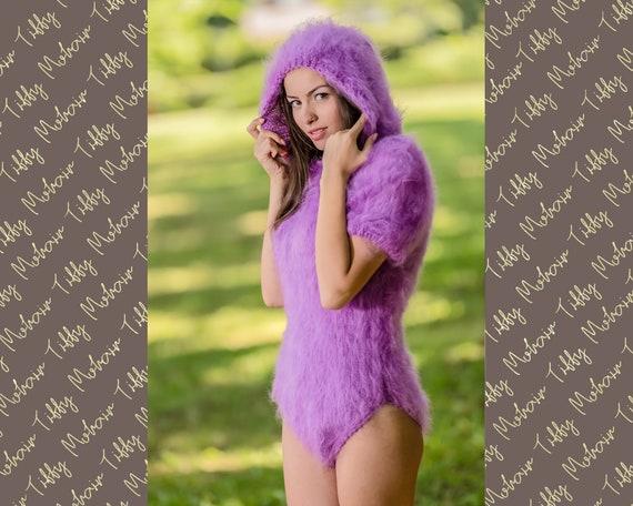 Mohair Bodysuit, Hand Knit Sweater, Fetish Bodysuit, Men Mohair Romper, Hooded Overall, Fetish Bodysuit, Fluffy Hoody Bodysuit T343