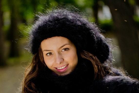 Black Mohair Hat, Knit Hat, Fluffy Mohair Beanie, Slouchy Hat, Mohair Balaclava, Fluffy Winter Hat, Fetish Balaclava, Oversized Hat T177a