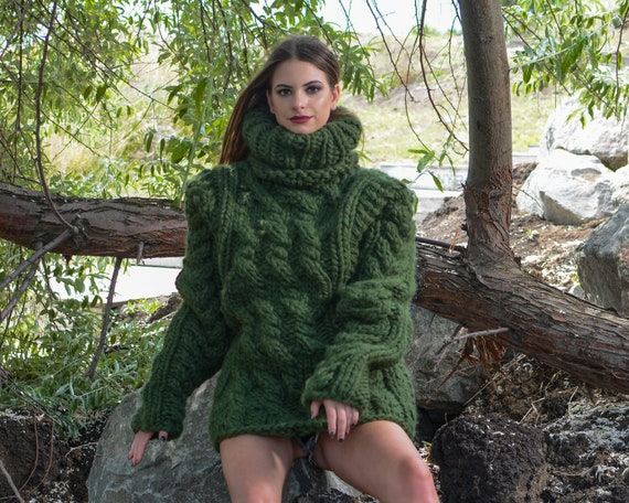 Ready to ship in size 3XL , 5 Strands Thick Green Wool Sweater,Massive Knit Woolen Pullover, Cables Sweater T790W